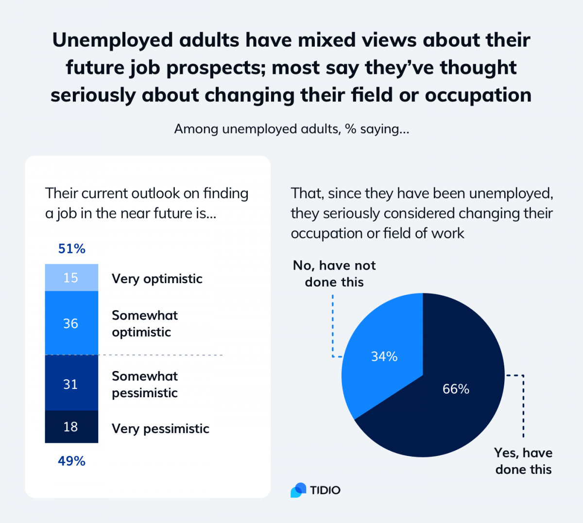 2 graphs showing unemployed adults views on their future prospects and the idea of changing their field or occupation