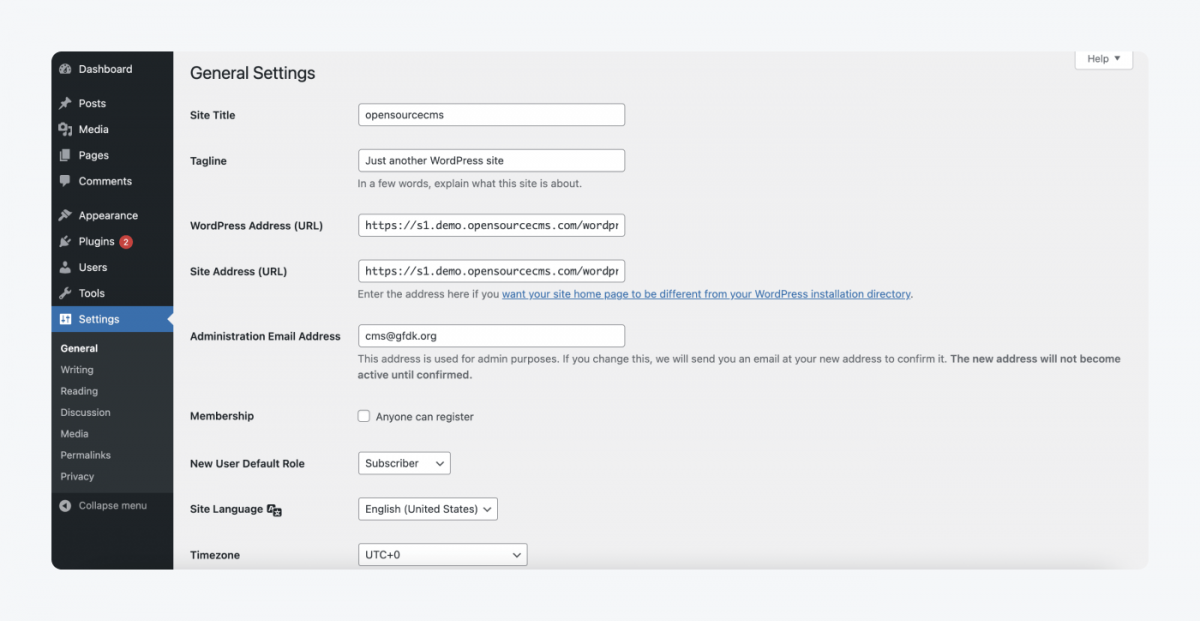page with general settings, site title, tagline, wordpress url, new user default role, site language, timezone