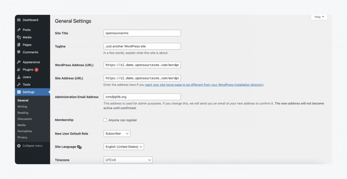 General settings in WordPress