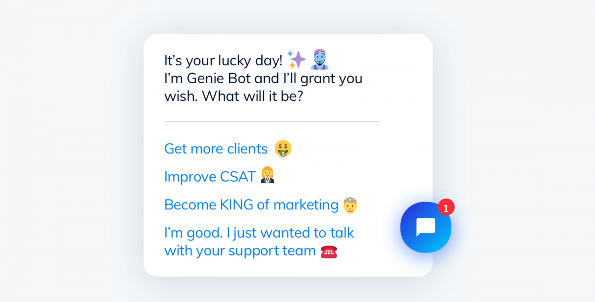 Chatbot personality example - Tidio