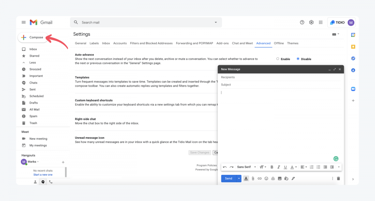 How to compose an email in Gmail