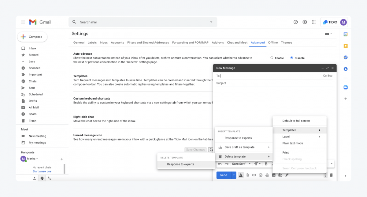 How to delete a template in Gmail