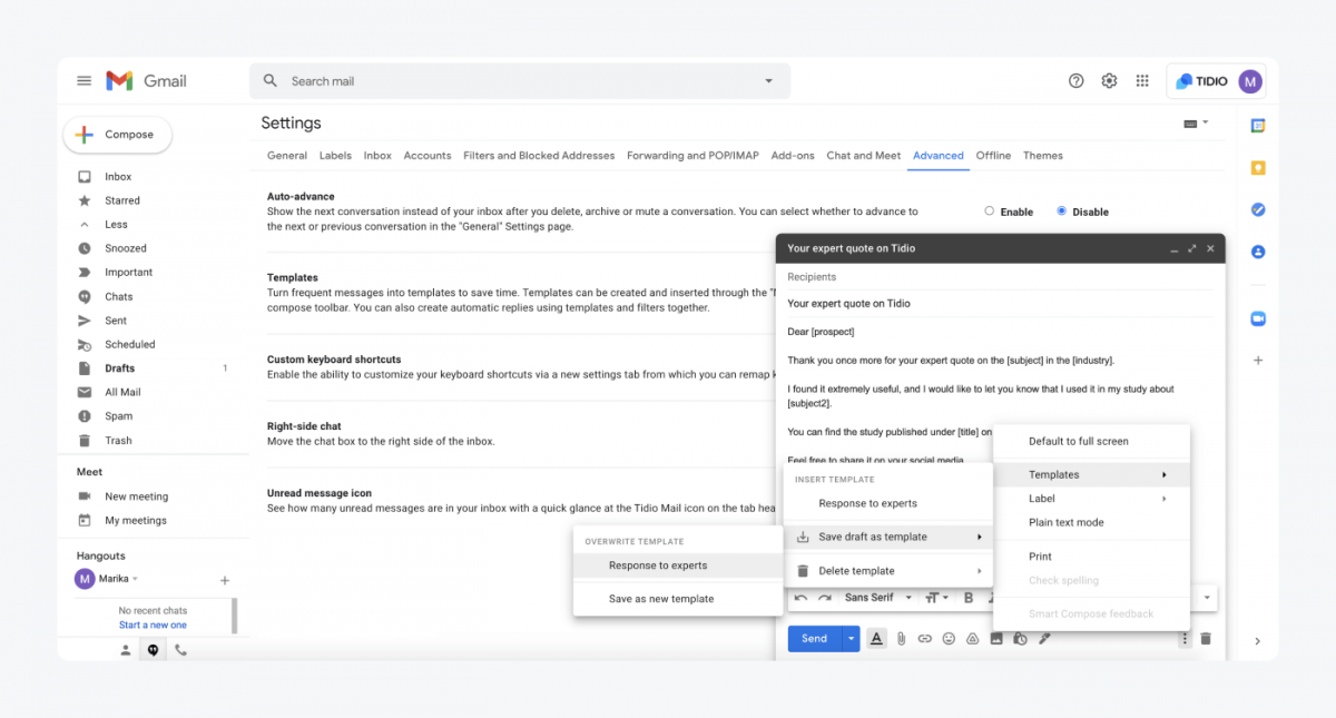 How to overwrite a template in Gmail