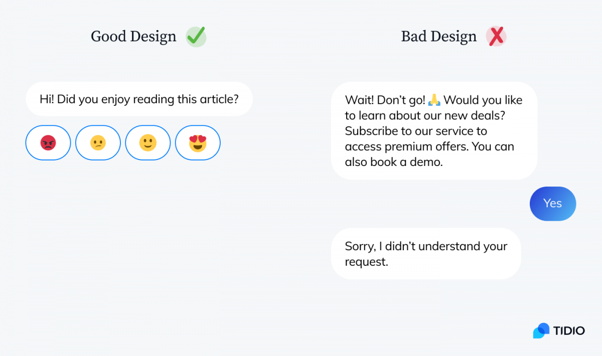 Good and bad example of chatbot design