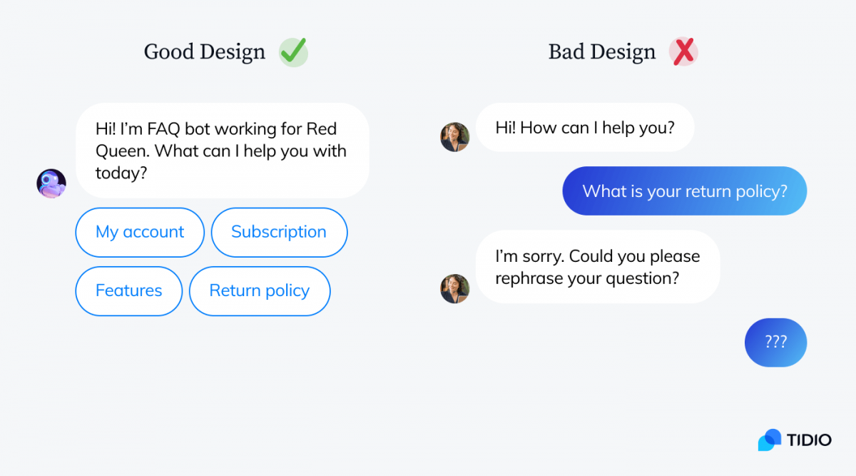 Good and bad chatbot design example