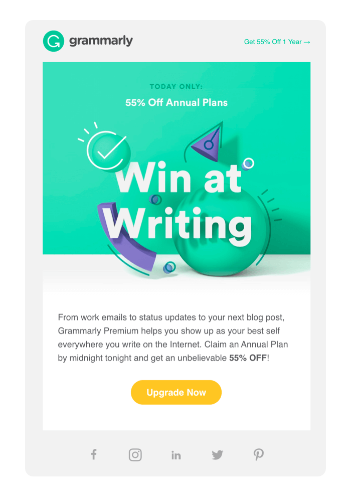 Email design example from Grammarly