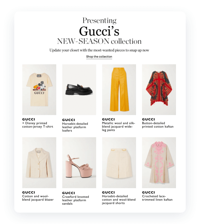Email design example from Gucci
