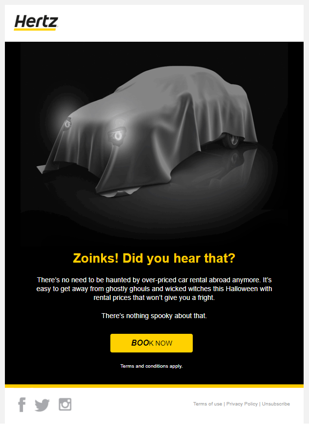 Halloween email from Hertz