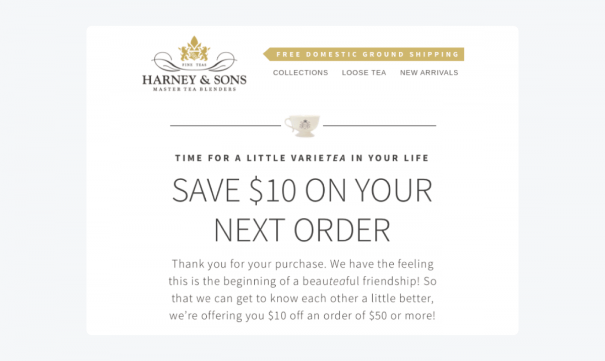 Post purchase email example by Harney&Sons