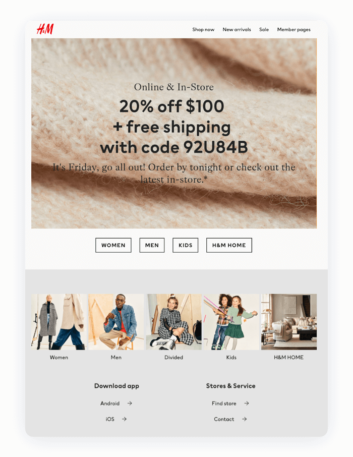 Email design example from H&M