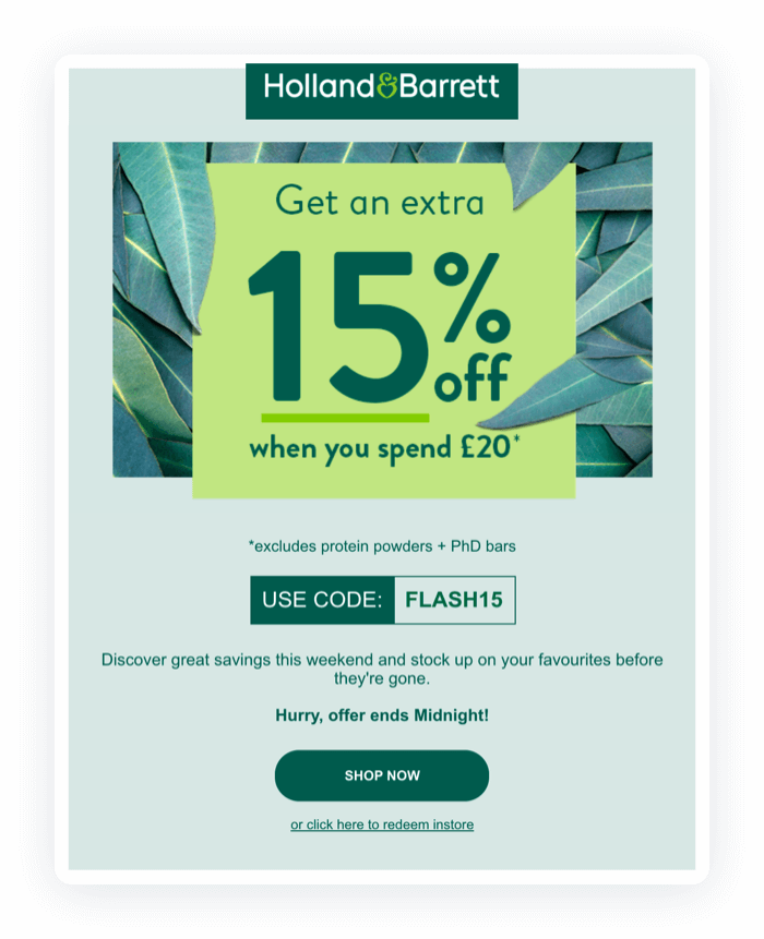 Email design example from Holland & Barrett