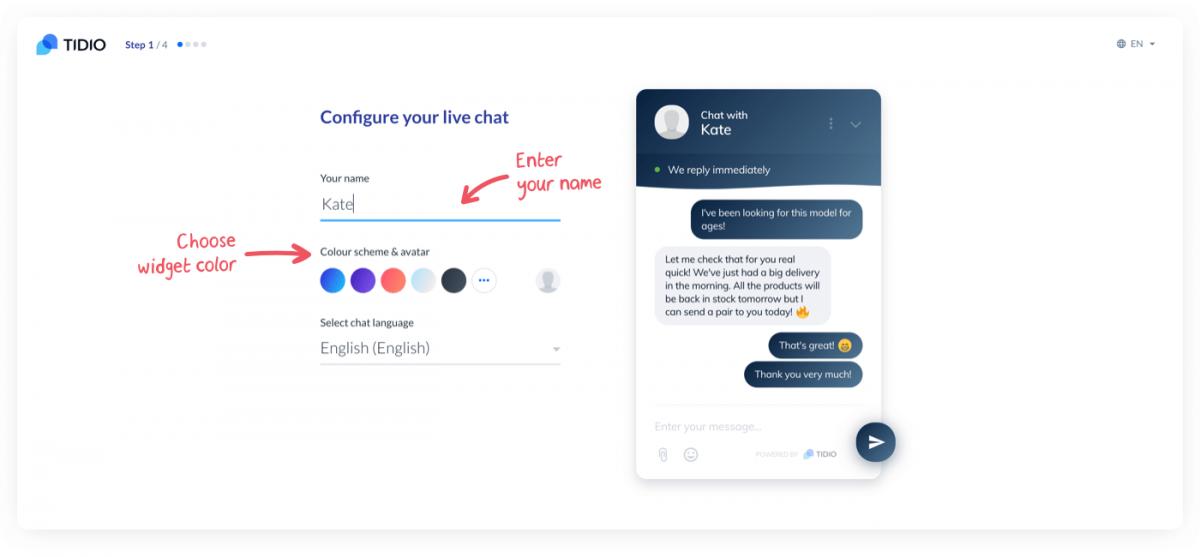 Live chat widget configuration