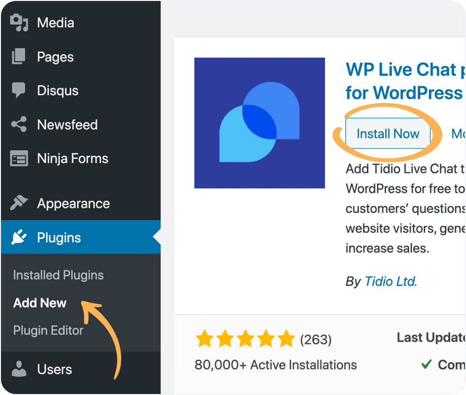 WordPress live chat plugin installation