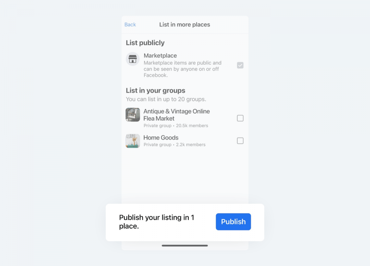 Image showing the final stage of publishing the item for sale on Facebook Marketplace.