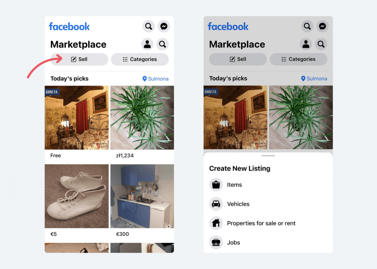Image showing how to start selling on FB Marketplace.