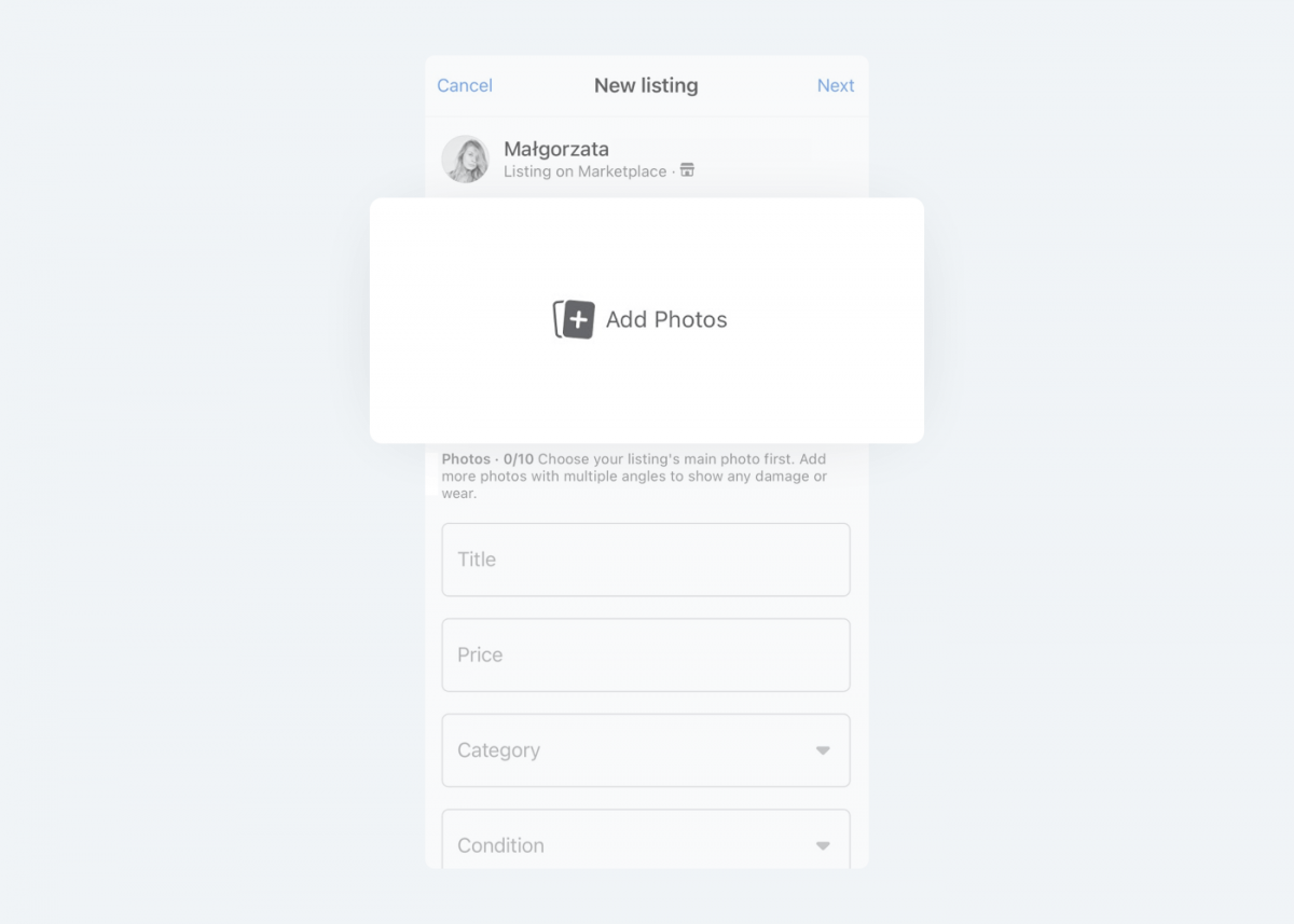Image showing how to add photos on Facebook Marketplace listing.