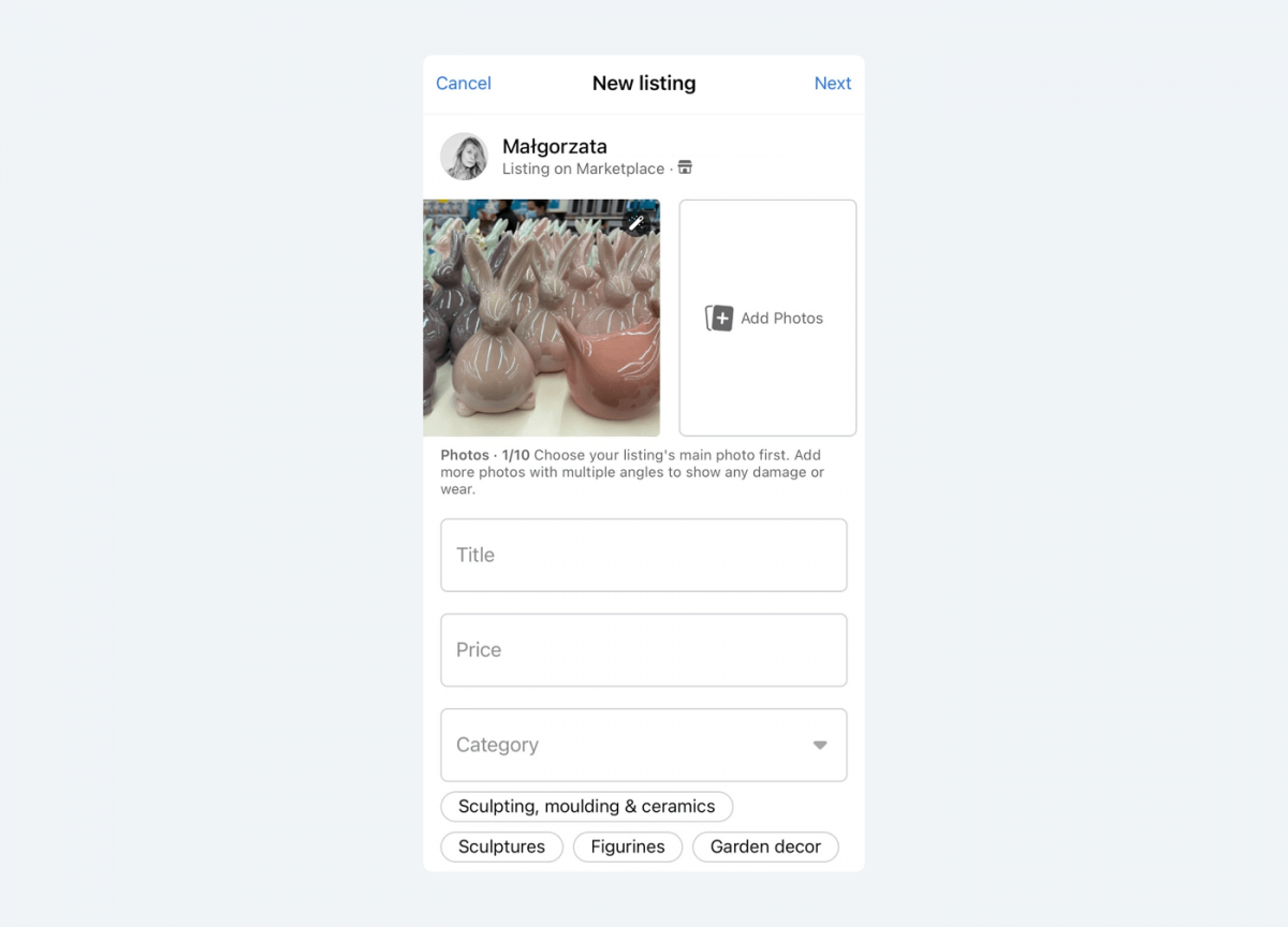 Image showing where to add a description of item we want to sell on Facebook Marketplace platform.