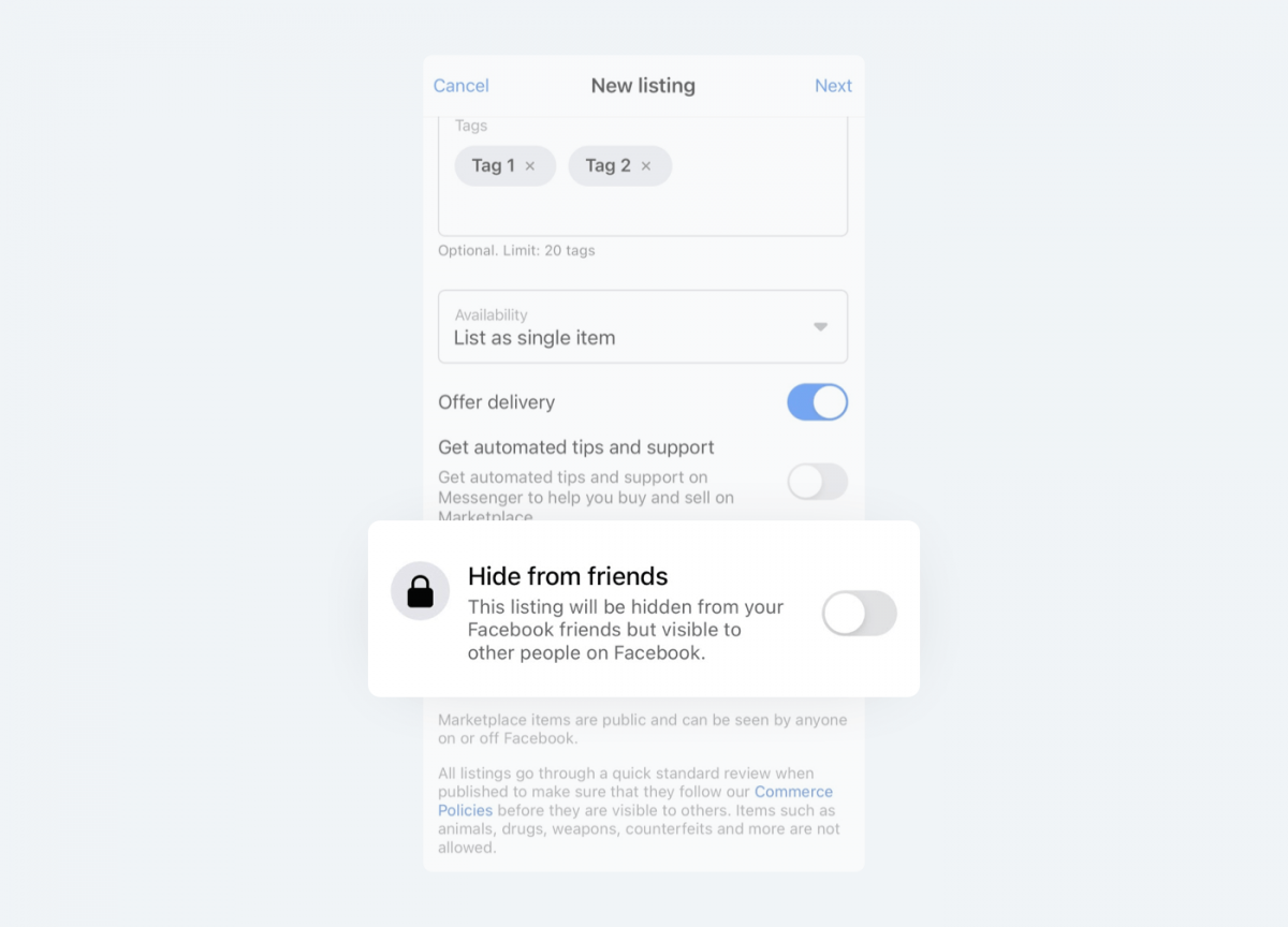 """Image showing where to find """"Hide from friends"""" option on Facebook Marketplace."""