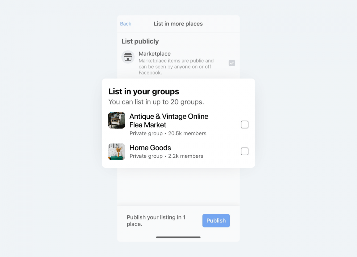 Image showing how to display item for sale in other groups you are member of, apart from FB Marketplace.
