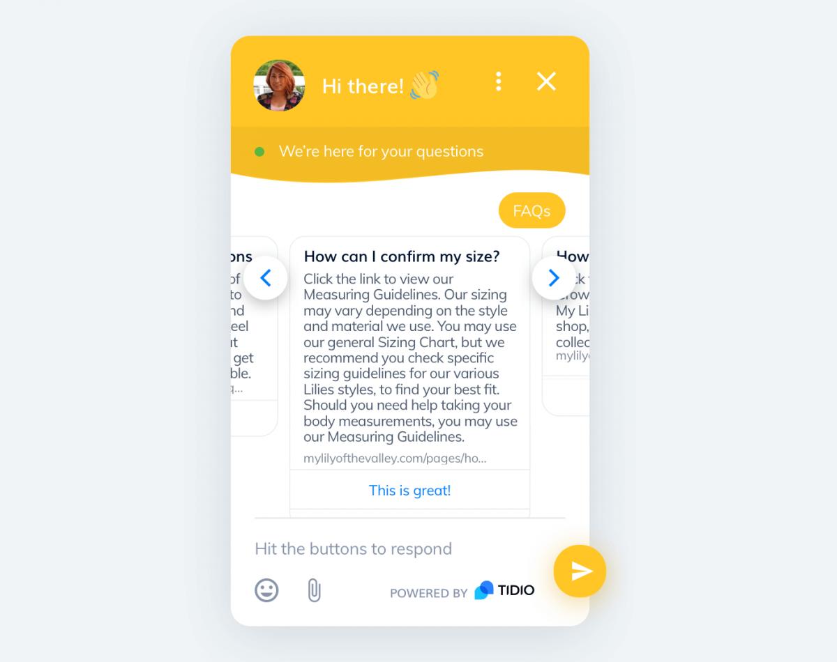 A customer service bot for underwear online stores