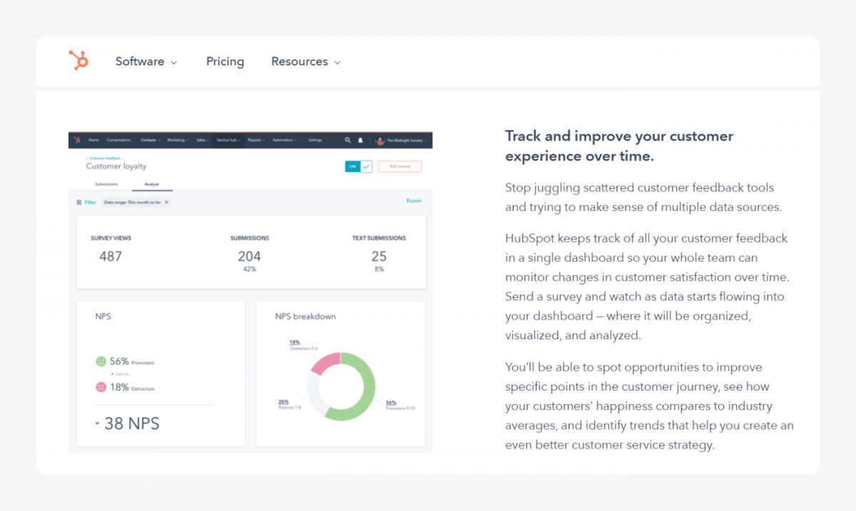 Snapshot of the Hubspot website