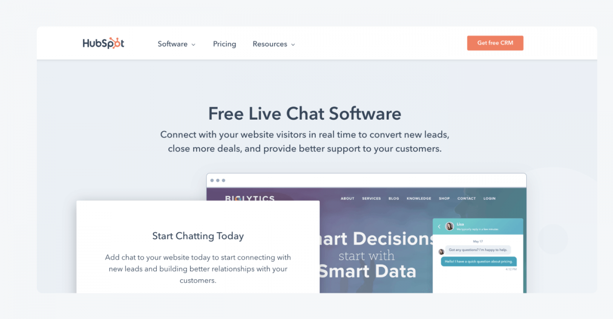 HubSpot Chat's homepage