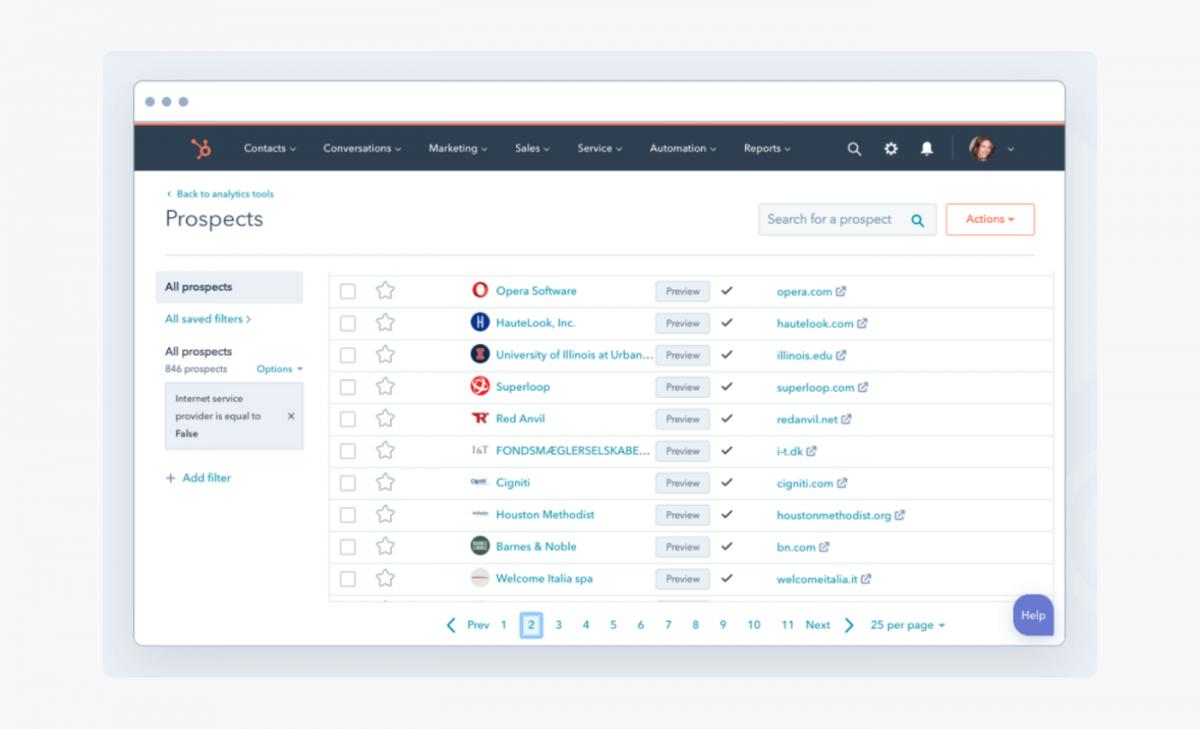 HubSpot CRM's website screenshot