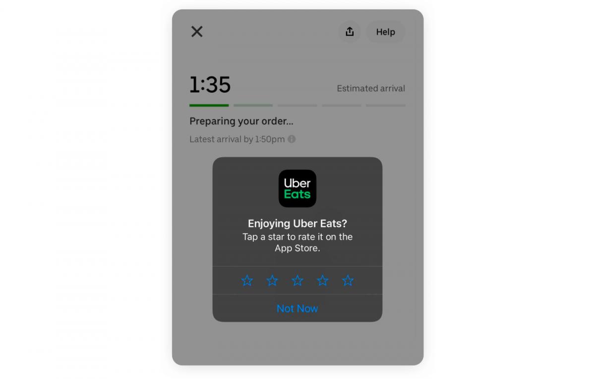 In-app customer feedback pop up