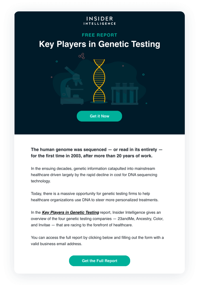 Email design example from Business Insider