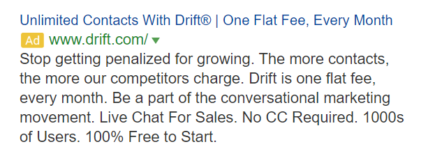 Drift advertisement
