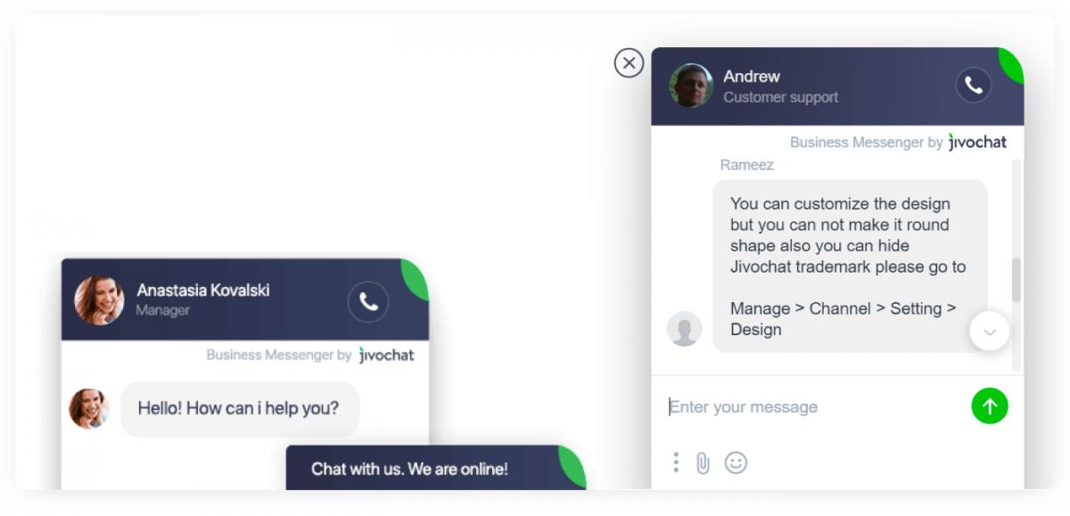JivoChat widget preview