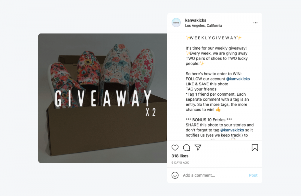 Instagram post from @kanvakicks with a Weekly Giveaway
