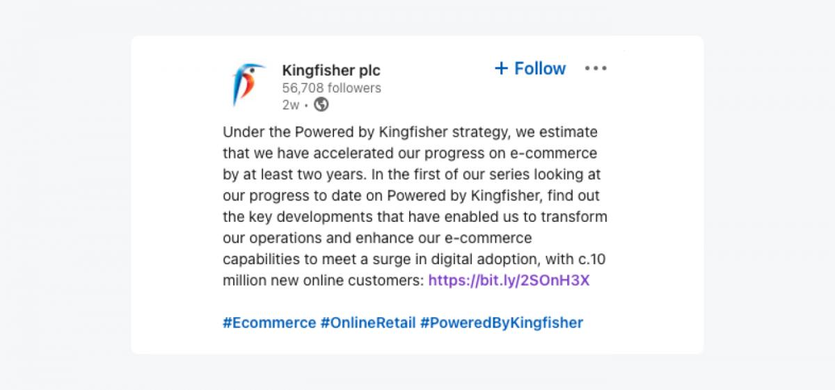 Kinfisher plc twitter message