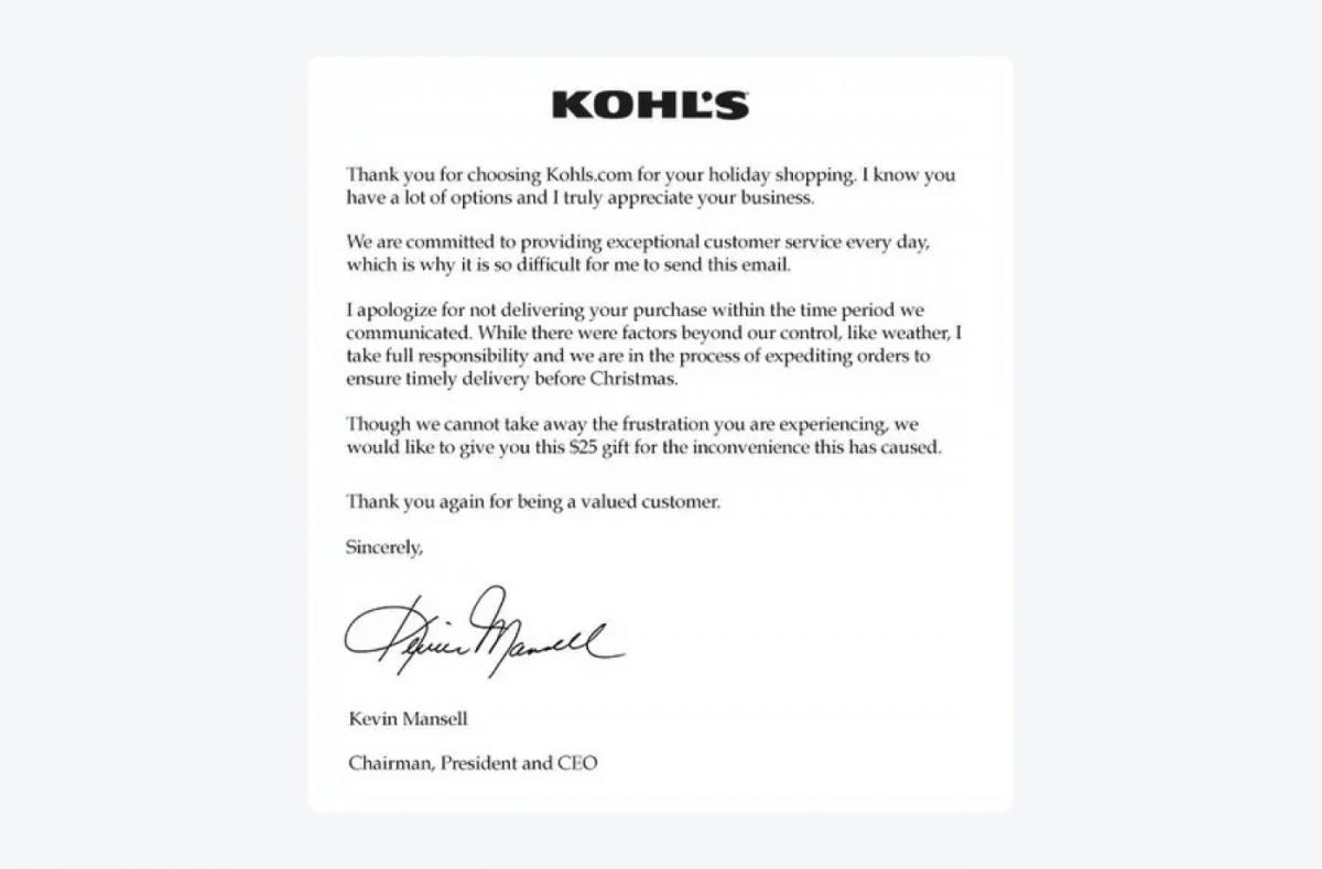 KOHL's apology letter