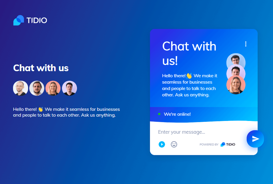 An example of a lead generation landing page with a live chat widget and chatbots