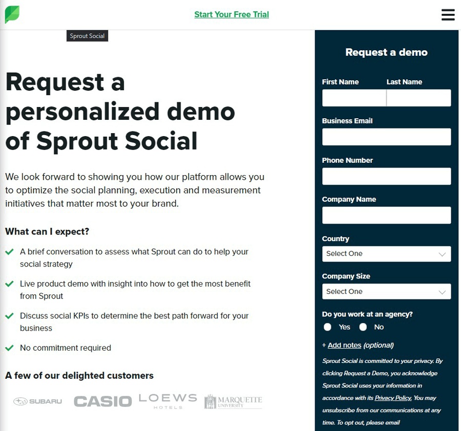 A lead generation landing page example (Sprout Social)