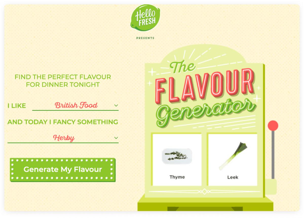 An interactive idea generator from Hello Fresh