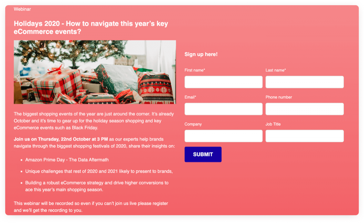 A webinar registration form used for lead generation