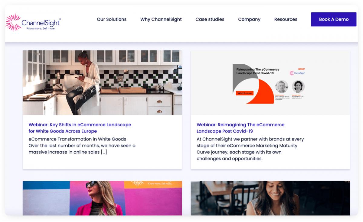 A dedicated webinar section on a website