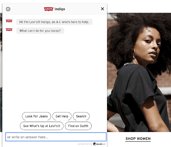 Levi's ecommerce chatbot integrated with facebook