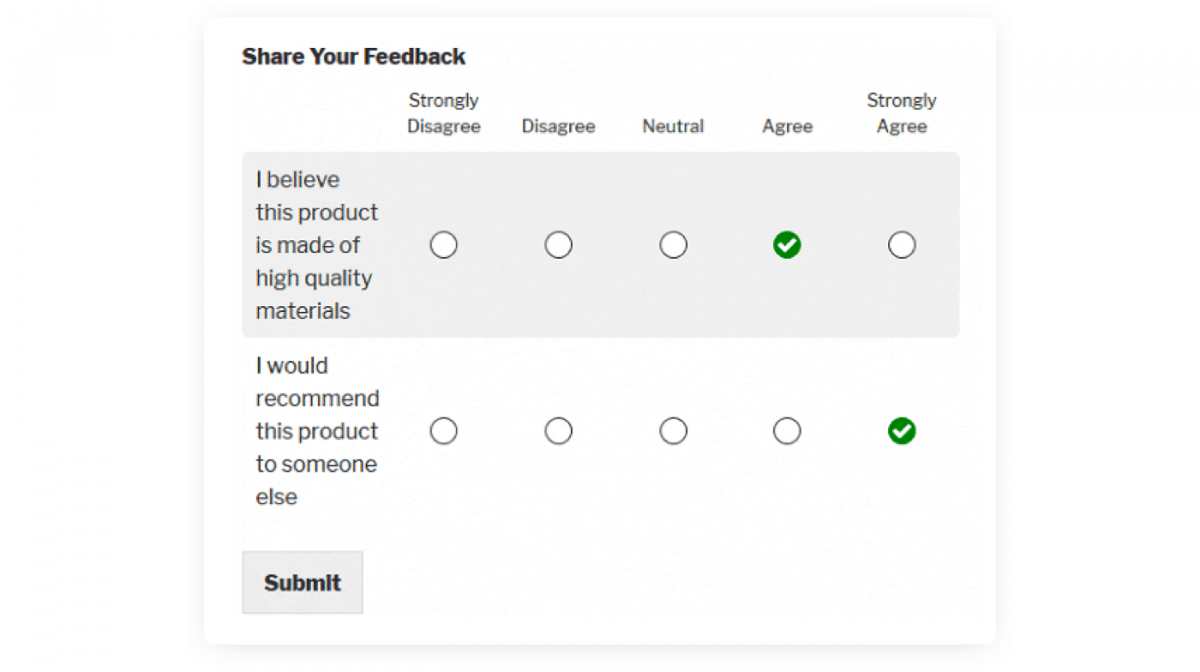 Product recommendation survey example