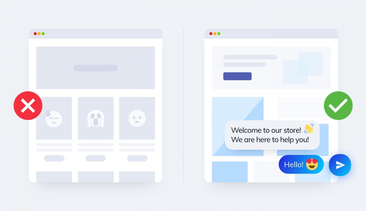 A website with a live chat widget and a chatbot versus a regular website.