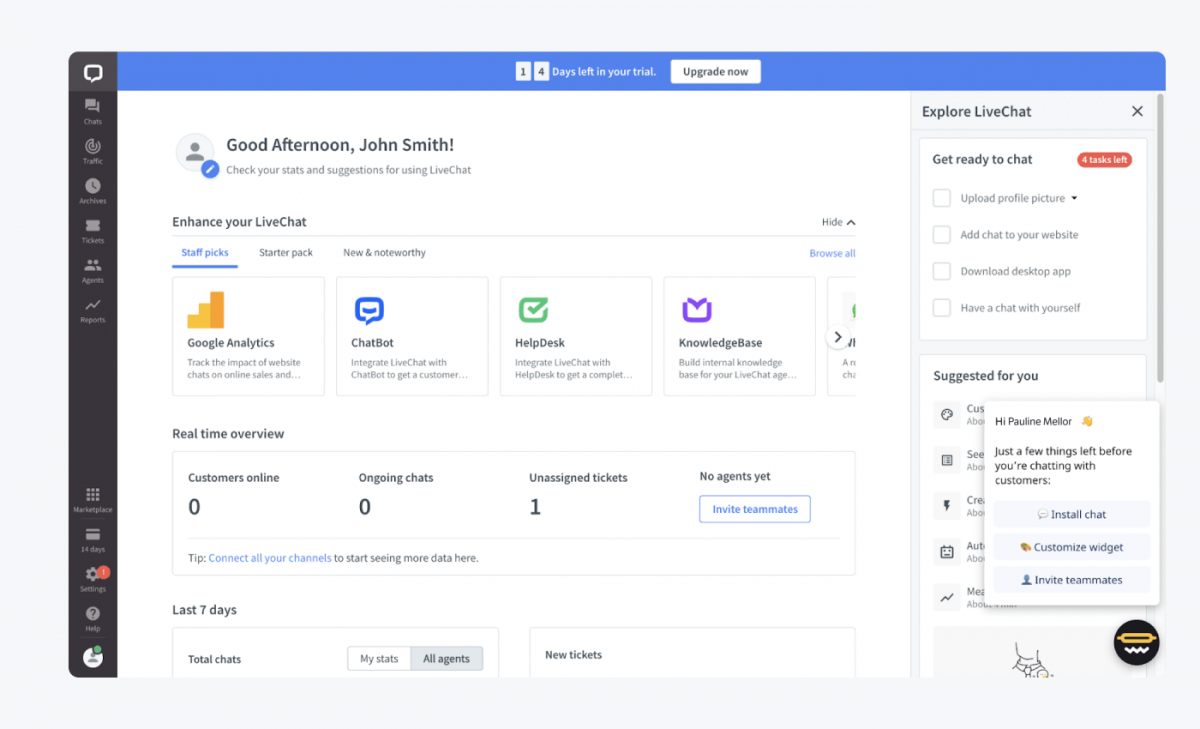LiveChat dashboard
