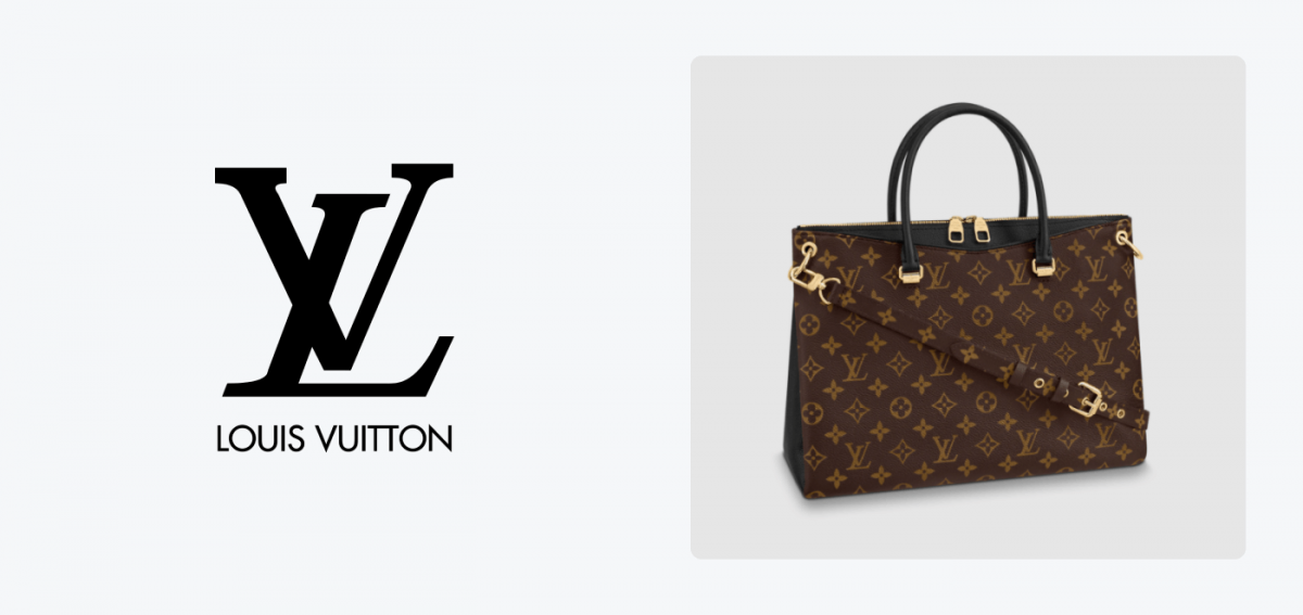 Louis Vuitton logo and its usage on a handbag