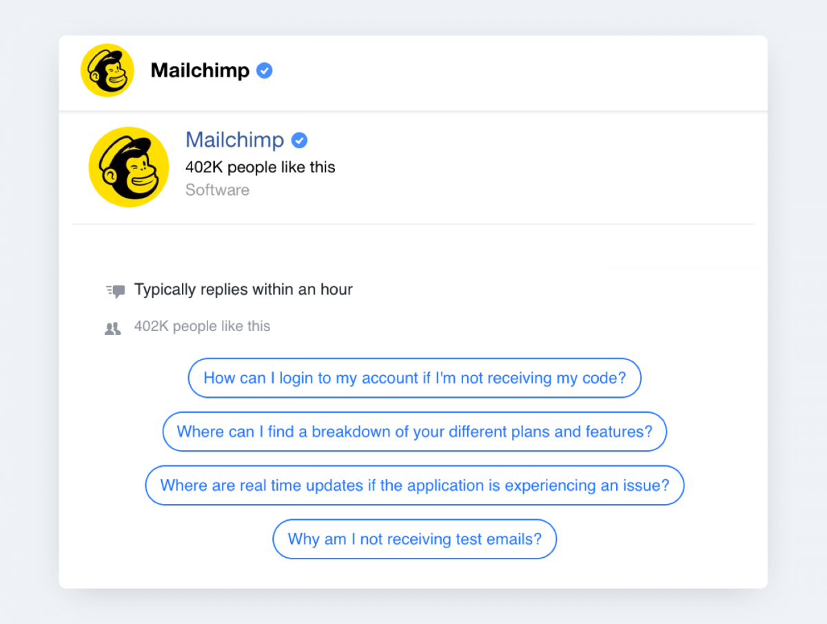 A facebook chatbot used by Mailchimp