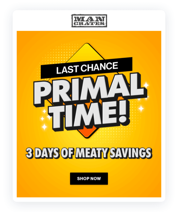 Email design example from Man Crates