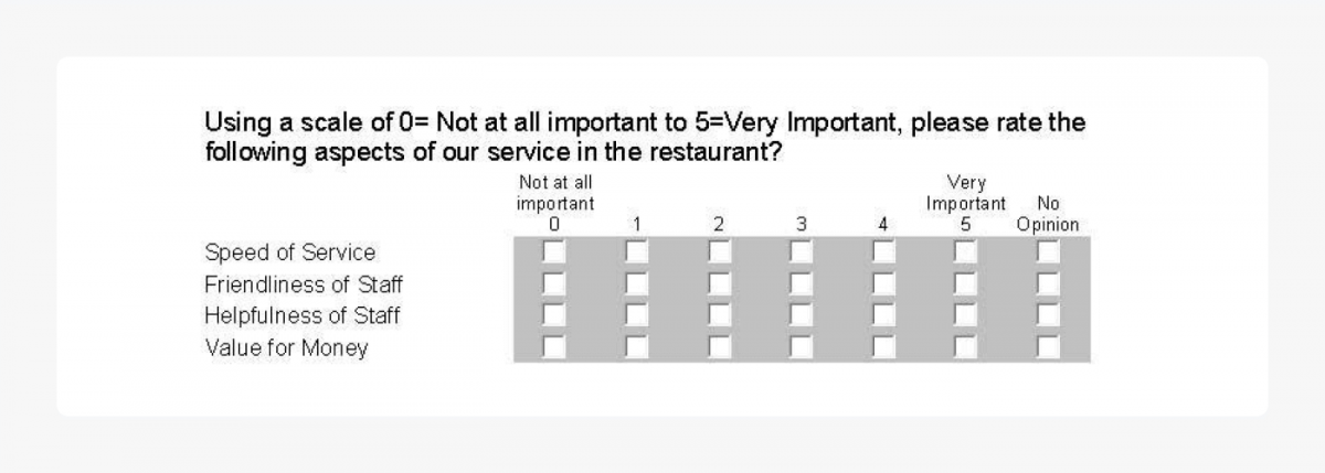 Scale survey example