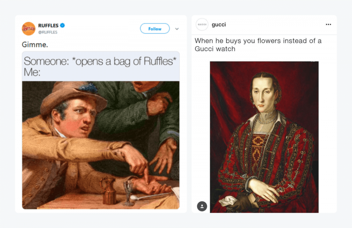 Memes from Ruffles and Gucci