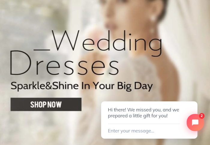 Welcome message for wedding dress store
