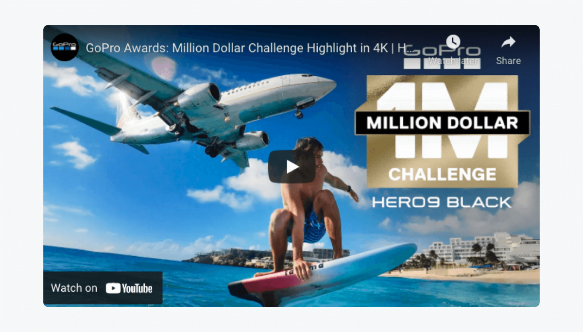 Snapshot of a Youtube window with Go Pro Awards: Million Dollar Challenge Highlight in 4K video